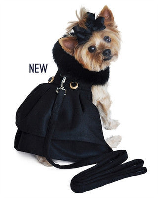 Black Wool and Black Fur Coat and Leash
