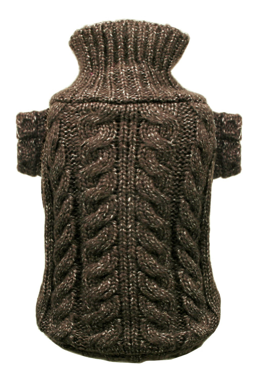 Chocolate Angora Cable Knit Sweater - Bark Fifth Avenue