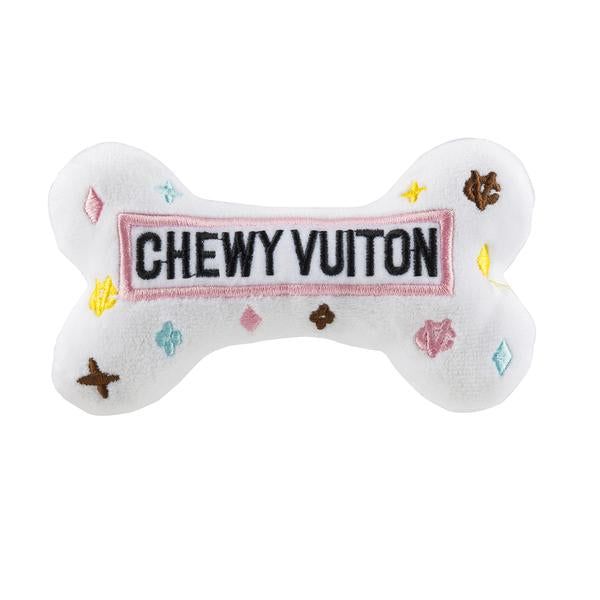 White Chewy Vuiton Bone Toy - Bark Fifth Avenue