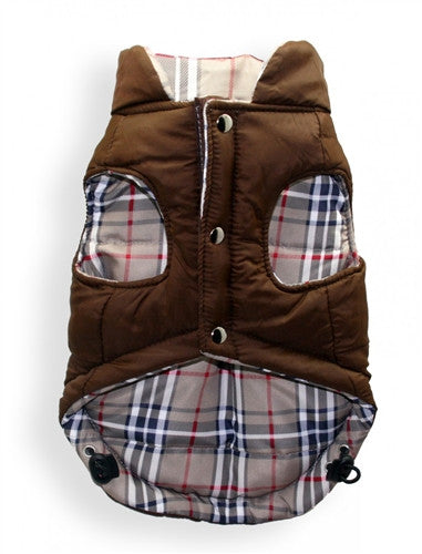 REVERSIBLE PUFFER VEST - BROWN PLAID V2