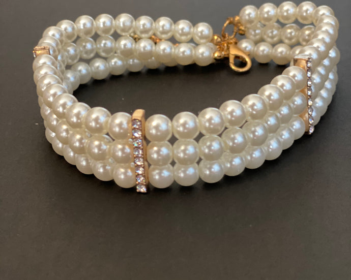 Mommy & Me 3-Row Pearl and Crystal Choker Necklace