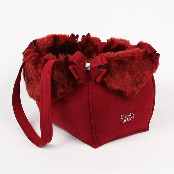 Nouveau Bow Burgundy Luxury Dog Carrier - Bark Fifth Avenue