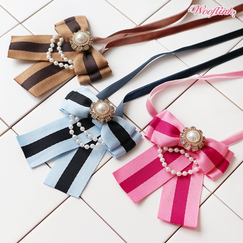 STRIPE BOW NECKLACE
