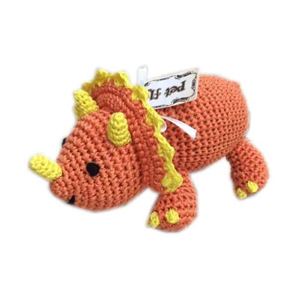Knit Knacks Bop the Triceratops Organic Cotton Small Dog Toy - Bark Fifth Avenue