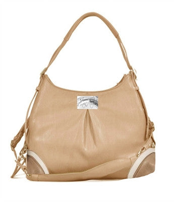 """Madison"" Mica Michele Mocha Faux Pebble Leather Carry Bag - Bark Fifth Avenue"