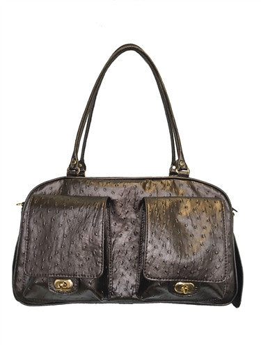 Bronze Ostrich Marlee Bag - Bark Fifth Avenue