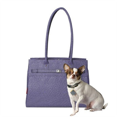 Embossed Ostrich Monaco Tote in Periwinkle - Bark Fifth Avenue