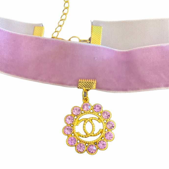 Lavender Velvet CC Flower Charm Necklace