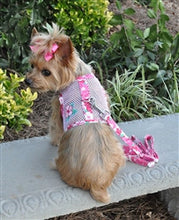 Load image into Gallery viewer, Pink Hibiscus Cool Mesh Harness with Leash - Bark Fifth Avenue