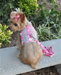 Pink Hibiscus Cool Mesh Harness with Leash