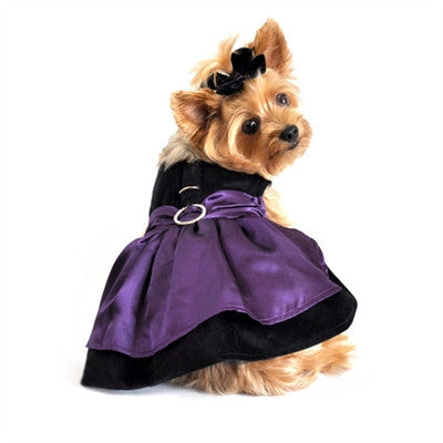 Black Velvet & Purple Satin Dog Harness Dress with Leash - Bark Fifth Avenue