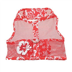 Red Hibiscus Cool Mesh Harness with Leash - Bark Fifth Avenue