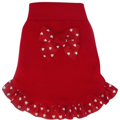 Red with Heart Ribbon Bow Tank Dress - Bark Fifth Avenue