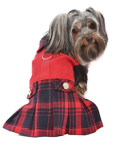 Scottish Pleated Dress, Red/Blue Plaid