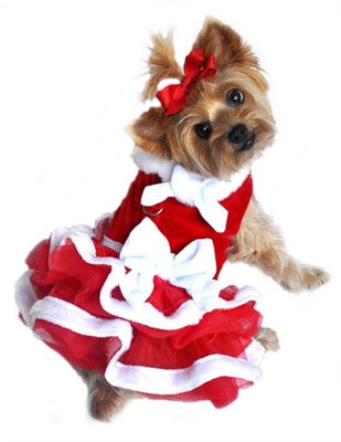 """White Christmas"" Santa Girl Velvet, Red Chiffon, White Fur, and Bows Dress - Bark Fifth Avenue"