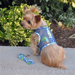 Surfboard Blue and Green Cool Mesh Dog Harness with Matching Leash - Bark Fifth Avenue