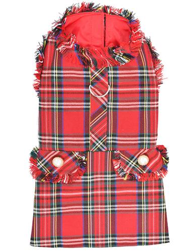 Tartan Fringe Dress, Red