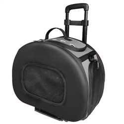 Black Tough-Shell Wheeled Collapsible Pet Carrier - Bark Fifth Avenue