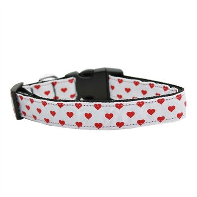 White and Red Dotty Hearts Nylon Dog Collars