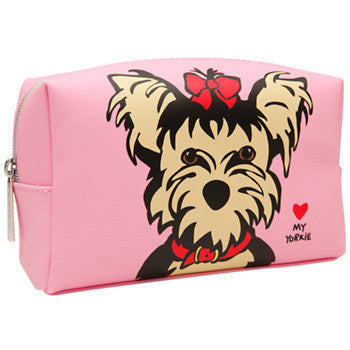 Marc Tetro Large Cosmetic Case- Yorkie on Pink
