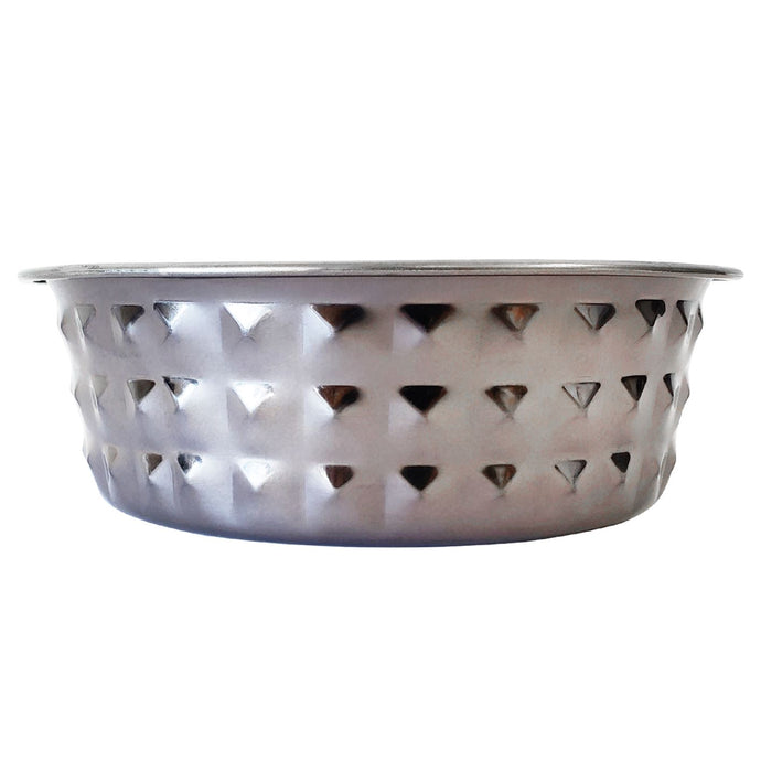 Diamond Patterned Stainless Steel Dog Bowl