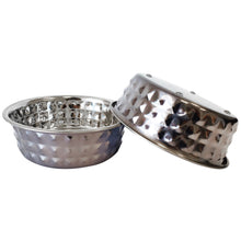 Load image into Gallery viewer, Diamond Patterned Stainless Steel Dog Bowl