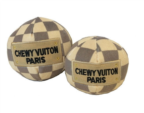 Checker Chewy Vuiton Plush Ball Toy - Bark Fifth Avenue