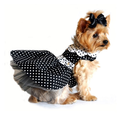 Black and White Polka Dot Dress with D-Ring and Leash - Bark Fifth Avenue