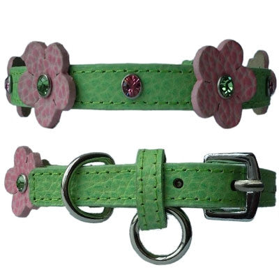 Flower Leather Collars w/Swarovski Crystals