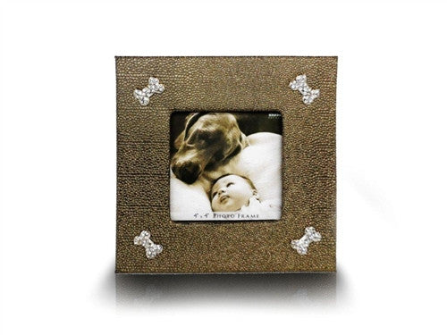 "PETS PHOTO FRAME 4""X4"" GOLD GLITTER - Bark Fifth Avenue"