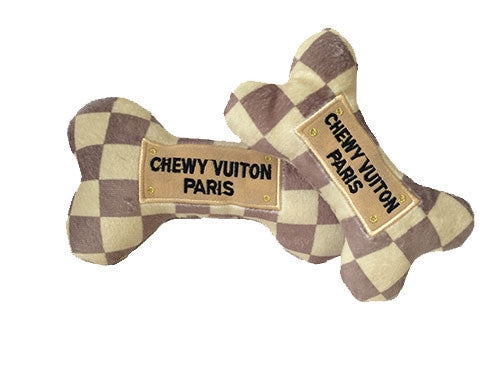 Chewy Vuiton Checker Bone Toy - Bark Fifth Avenue