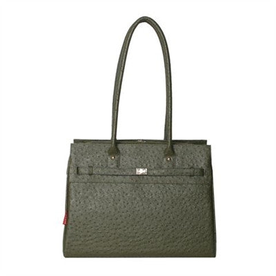 Embossed Ostrich Monaco Tote in Olive
