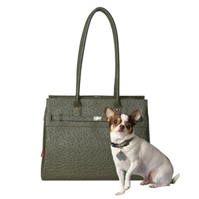 Embossed Ostrich Monaco Tote in Olive - Bark Fifth Avenue