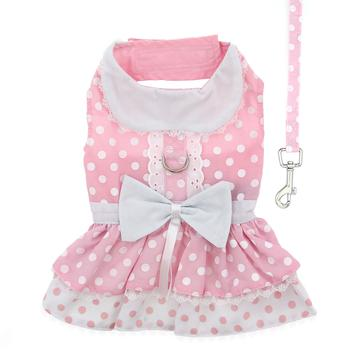 Pink Polka Dot and Lace Dog Dress Set with Leash