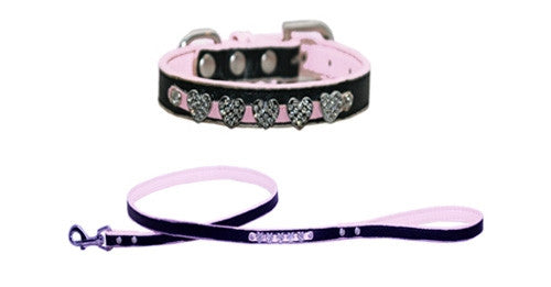 Pink Diamond Faux Leather Bling Collars & Leads
