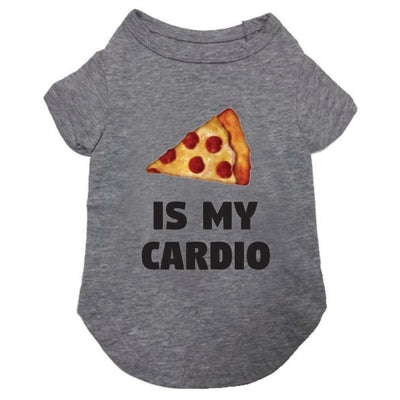 Pizza Is My Cardio T-Shirt in Heather Grey