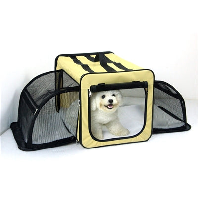 Capacious Dual-Expandable Wire Lightweight Collapsible Travel Pet Crate carrier - Bark Fifth Avenue