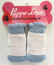 Load image into Gallery viewer, Blue & White None Slip Socks - Bark Fifth Avenue