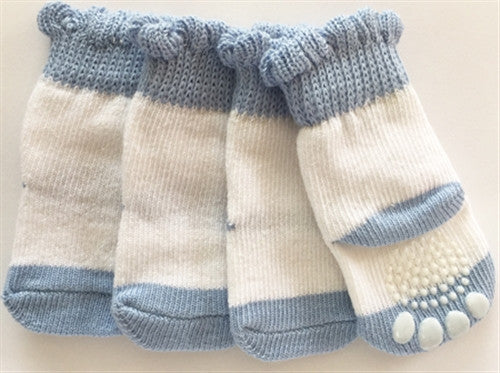 Blue & White None Slip Socks - Bark Fifth Avenue