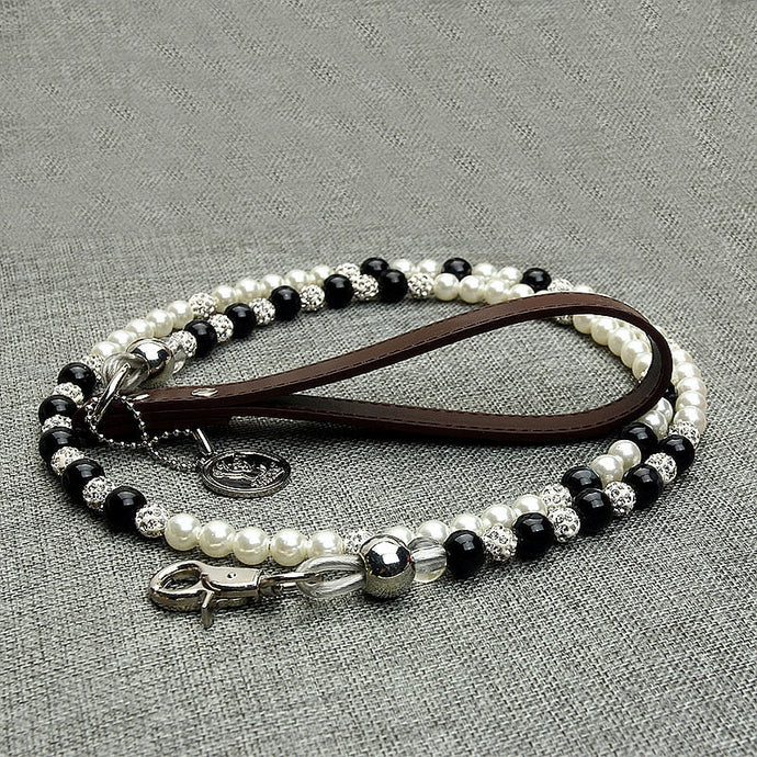 Luxury Pearls Pet Dog Chain Leash White Black Beaded Leash