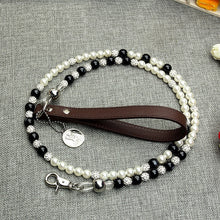 Load image into Gallery viewer, Luxury Pearls Pet Dog Chain Leash White Black Beaded Leash