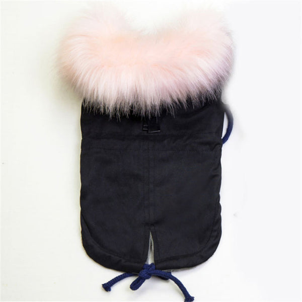 GLORIOUS KEK Luxury Faux Fur Collar Dog Coat