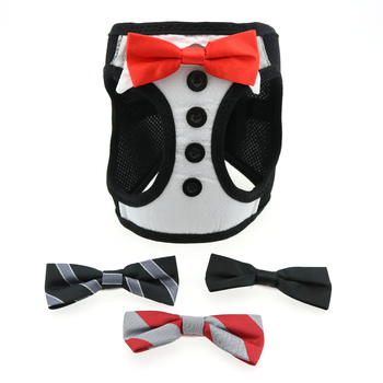 Choke Free Dog Harness - Tuxedo with 4 Interchangeable Bows - Bark Fifth Avenue