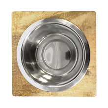 Load image into Gallery viewer, Square Mango Wood Bowl Holder with Stainless Steel Dog Bowl