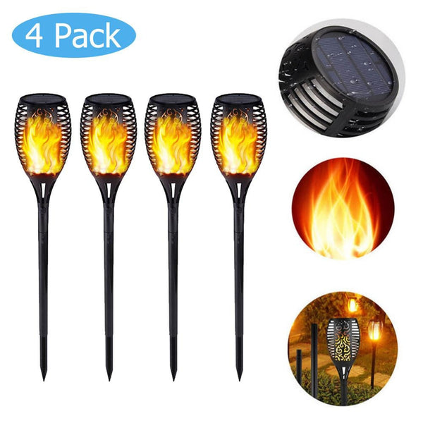 Solar-Powered LED Flame Torch Lamp