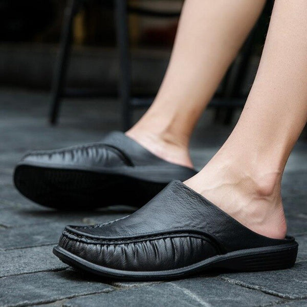 New Leather Men Shoes Slippers