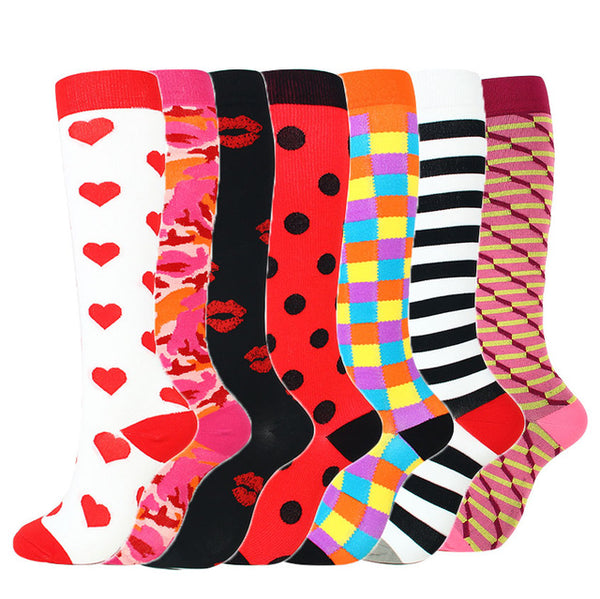 7 Pairs/Lot Mixed Compression Stockings Fit for Running Unisex Nurses Flight Travel Leg Pressure Compress High Quality Socks