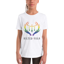 Load image into Gallery viewer, Kilted Yoga Pride T Shirt Kids