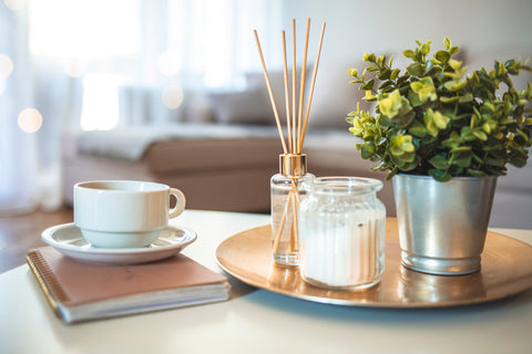 fragrance diffuser, plant and coffee cup on desk