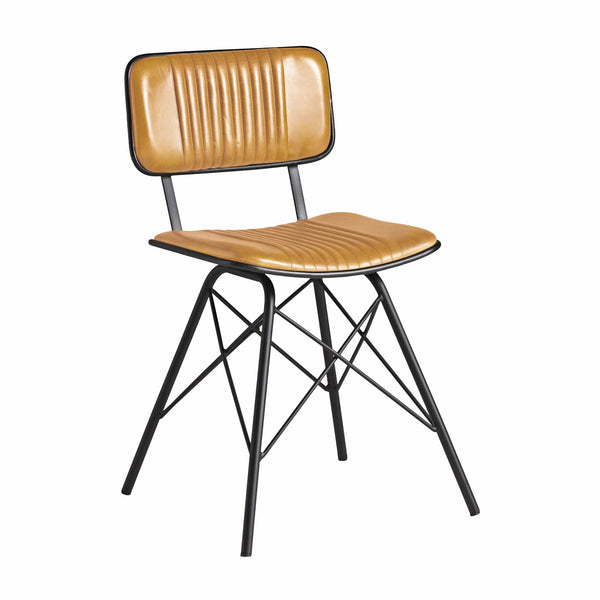 Duke Industrial Leather Side Chair - Tables&Tops